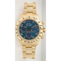 Rolex Daytona 116528 18K Yellow Gold With Factory Blue Dial -...