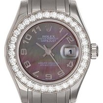 Rolex Ladies Pearlmaster 18k White Gold Watch 80299 Tahitian...