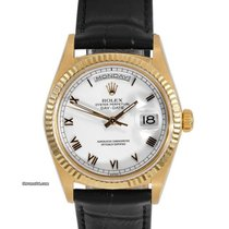 Rolex Mens 18K Gold President White Roman Numeral Dial 18038