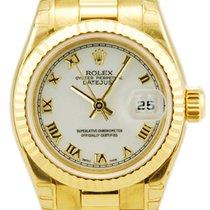 Rolex Ladies DateJust President 18kt Yellow Gold White...