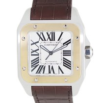 Cartier Santos 18k Gold Steel Silver Automatic W20072X7