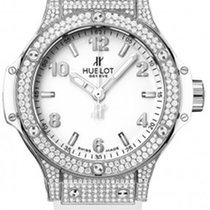 Hublot Big Bang 38mm Stainless Steel Diamonds White Rubber...