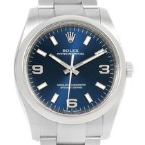 Rolex Air King Blue Dial Oyster Bracelet Mens Watch 114200 Box...