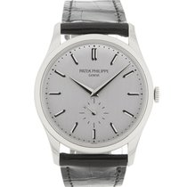 Patek Philippe Calatrava 37mm White Gold Watch on Leather Strap