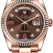 Rolex Day-Date 36mm Everose Gold Fluted Bezel 118235 Chocolate...