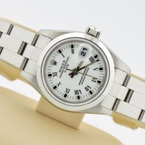 Rolex Date Stainless Steel White Roman Dial Smooth Oyster Band...
