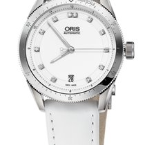 Oris Artix GT Date, Diamonds, White Dial, Leather Bracelet