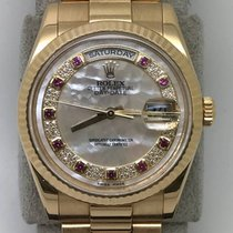Rolex 118238 18k Yellow Gold with Original Rubies Pearl Dial