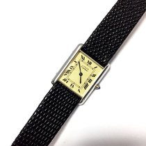 Cartier Tank Gold-plated Argent Ladies Watch W/ Black Leather...