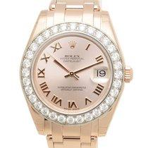 Rolex Lady Datejust 18 K Rose Gold With Diamonds Pink Automati...