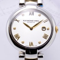 Raymond Weil Shine Diamanten Date Damenuhr Stahl Gold White...