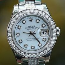Rolex Ladies Stainless Steel Diamonds Oyster Band Diamond...