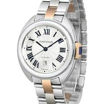 Cartier Cle Silvered Dial 18k Pink Gold Automatic Women Watch...