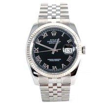 Rolex Mens New Style 116234 Datejust - Black Roman Dial -...