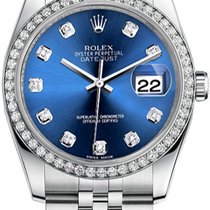 Rolex New Style Datejust Stainless Steel Custom Diamond Bezel...