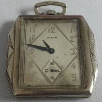 Elgin Antique Pocket Watch 1930 14K White Gold GF 17-Jewels