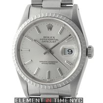 Rolex Datejust Stainless Steel Fluted Bezel 36mm Silver Stick...