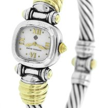 David Yurman 925 Sterling Silver 14K Gold MOP Bangle Watch...