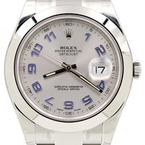 Rolex Datejust II 116300 Blue Arabic Silver 41mm Stainless...