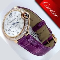 Cartier Ballon Bleu De Cartier 36mm 18k Rose Gold Purple Strap...
