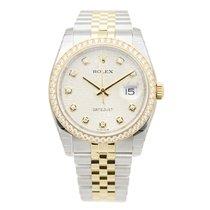 Rolex Datejust Gold Steel Diamond Silver Automatic 116243JSV_J