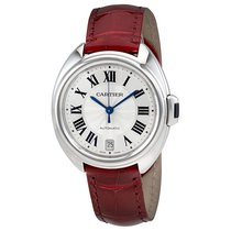 Cartier Cle De Silvered Flinque Dial Automatic Ladies Watch