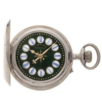 system Roskopf silver antique pocket watch with decorated dial