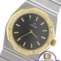 Concord Mariner SG Stainless Steel 18K Gold Diamond Black Quartz