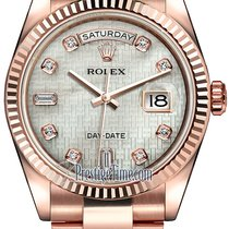 Rolex Day-Date 36mm Everose Gold Fluted Bezel 118235 White MOP...