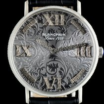 Blancpain 18k White Gold Embossed Filigree Grey Dial Gents Watch