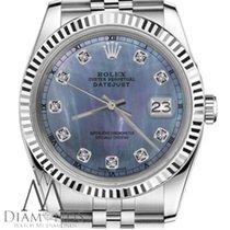 Rolex Ladies Size Rolex 26mm Datejust Blue Tahitian Mop Mother...