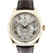 Rolex 326138 Sky-Dweller Silver Roman Dial Yellow Gold Leather
