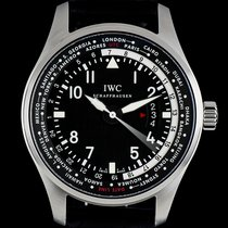 IWC Stainless Steel Pilots World Timer Black Dial B&P...