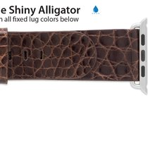 Apple Compatible 24mm Genuine Shiny Alligator Regular Length...