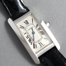 Cartier Tank Americaine ladies 18k White gold on leather
