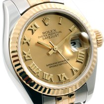Rolex Ladies 26mm 18K/SS Datejust Champ Roman Dial - 179173