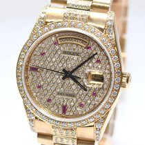 Rolex Day Date Gold Uhr Brillant Besatz Papiere Box 1991