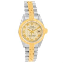 Rolex Datejust Steel Yellow Gold Ivory Pyramid Dial Ladies...