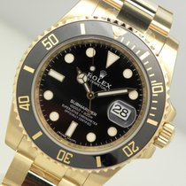 Rolex Submariner 116618 Mens 18k Yellow Gold Black Dial Black...