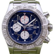 Breitling Super Avenger A13370 Men's 48mm Custom Diamond...
