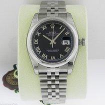 Rolex Datejust 36mm Black Roman Dial Jubilee 116200 Box and...