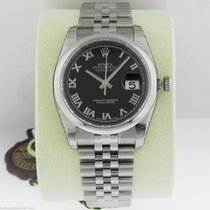 Rolex Datejust 36mm Black Roman Dial Jubilee 116200 Box and...