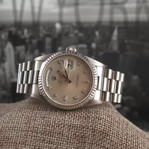 Rolex 18239 White Gold Day-Date with factory diamond dial-Stun...