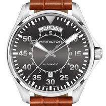 Hamilton Khaki Pilot Aviation Leather Strap Men's Watch...