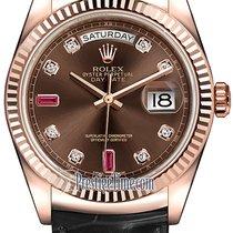 Rolex Day-Date 36mm Everose Gold Fluted Bezel 118135 Chocolate...