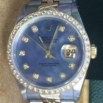 Rolex Ladies Mens 36mm Datejust Diamond Bezel Blue Mother Of...