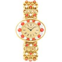Patek Philippe Ladys  Yellow Gold Diamond Coral Bracelet Watch...