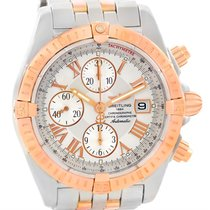 Breitling Chronomat Evolution Steel Rose Gold White Dial Watch...