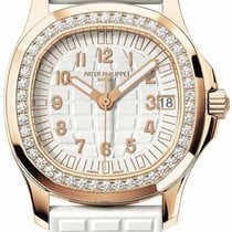 Patek Philippe Ladies Aquanaut Rose Gold White Rubber Strap...