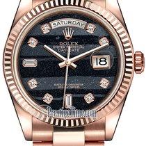 Rolex Day-Date 36mm Everose Gold Fluted Bezel 118235 Ferrite...